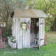 (link) DIY Recycle Reclaim Materials ~ Old Outhouse becomes a Potting Shed. or POTTY SHED: This is the cutest potting shed that was a potty shed a. outhouse in its former life. You can find out more at Up Country Olio.