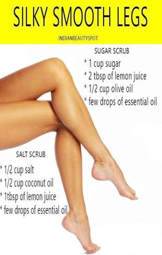 Exfoliation is the key to silky, smooth legs. Exfoliating your legs will not only rid of dead skin but also give you a close shave leaving your skin silky soft and smooth. Exfoliating the skin before and after shave will give you smoother legs and make your shave last long. Here are 2 natural sugar and salt scrub recipes you can make at home for softer, smoother legs. Salt Scrub - Ingredients 1 cup fine salt 4 tbsp of lemon juice 1/2 cup Coconut oil few drops of essential oil (optional) I