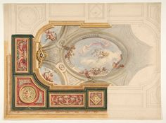 Jules-Edmond-Charles Lachaise   Design for a ceiling in Baroque style with a central panel in trompe l'oeil   The Metropolitan Museum of Art