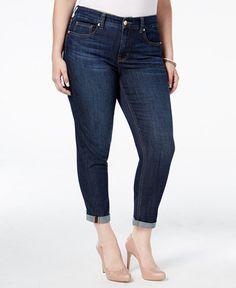 9d58e59abfc Melissa McCarthy Seven7 Trendy Plus Size Dark Blue Wash Girlfriend Jeans    Reviews - Jeans - Plus Sizes - Macy s