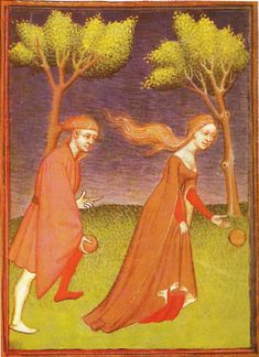 From Christine de Pisan's Cite des Dames, 1410, come a pair of noble teenagers playing lawn bowls. She wears a red under-kirtle, with a rust-coloured outer dress like the bride's above with long, hanging split sleeves.  http://www.goldgryph.com/period_kirtles.htm