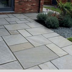 Buy Natural Stone paving slabs and flags online with free delivery. Natural Stone paving slabs and bullnose steps for sale at Paving Superstore. Garden Slabs, Patio Slabs, Garden Paths, Slate Paving, Paving Stones, Paving Stone Patio, Stone Patios, Concrete Deck, Outdoor Paving