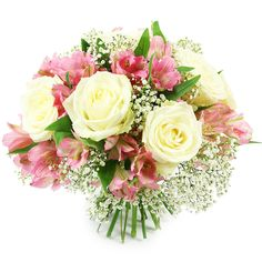 This marvellous hand-tied bouquet made up of white roses, pink alstroemeria, gypsophila, and greenery - the softest and stylish bouquet suitable for any occasion! Early May Bank Holiday, Hand Tied Bouquet, Rose Arrangements, Same Day Flower Delivery, Most Beautiful Flowers, Gypsophila, Local Florist, White Roses, Greenery