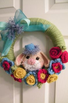 Crochet Pattern Yarn Wrapped Bunny Wreath by Teri Crews