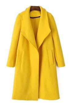 Yellow Turn Down Collar Long Sleeve Coat