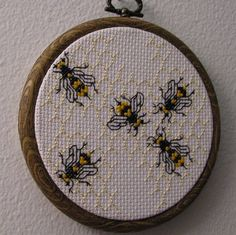 Honeycomb and Bee Mini Sampler -- need to find the link to the free pattern, it's in the vintage library #freecrossstitch