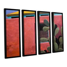 Adobe Color by Rick Kersten 4 Piece Floater Framed Painting Print on Canvas Set