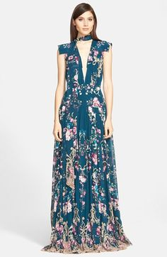 Roberto+Cavalli+Plunge+Neck+Floral+Print+Crêpe+de+Chine+Gown+available+at+#Nordstrom jαɢlαdy