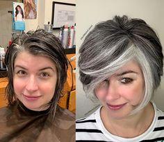 White Hair Highlights, Grey Hair Transformation, Gray Hair Growing Out, Chin Length Hair, Transition To Gray Hair, Silver Hair, Hair Today, Dark Hair, Hair Looks