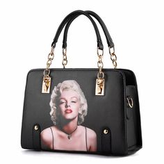 PhiFA Women's PU Leather Satchels Chain Top-handle Handbags Black Marilyn Monroe. Zipper top closures. Shiny metalic-tone hadware. A variety of back method, easy to fit a variety of occasions. Good choice of fashion style, it's Stylish, Creative and Attractive, Very useful accessory brighten up your look. Features: two main bags; one sandwich pocket. Easily accommodates kinds of cards, iPhone, wallet, cosmetic, cell phone, umbrella and so on.