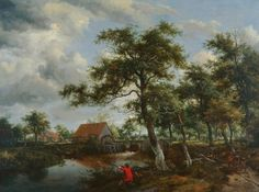wooded landscape with watermill - Google Search Example of good composition. Complementary red balances  the green.