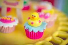 Ducky cupcakes from Tropical Surf Themed Birthday Party at Kara's Party Ideas. See more at karaspartyideas.com!