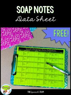 SOAP Notes form for easy speech-language therapy data collection! Speech Therapy Activities, Language Activities, Speech Language Pathology, Speech And Language, Sign Language, Data Collection Sheets, Soap Note, Speech Room, Notes