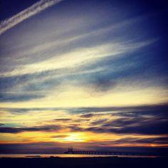 Golden sky Golden sea