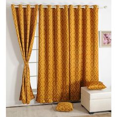 Swayam Premium Printed Sigma Blackout Curtain With Eyelets Brown - Your privacy at home is guaranteed with this brown colored printed black out curtain from Swayam. Made of an 80% blackout material, nothing can be seen on either sides of this curtain. The eyelets are also brown in color.