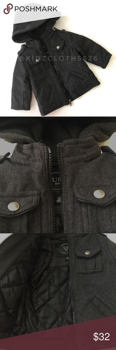 🚗 Urban Republic Wool Jacket 🚗 Urban Republic wool jacket (90% polyester 10% wool) in charcoal grey with military style pockets on front and and quilted interior. Also has a hood. In GUC, there are two small marks, one in bottom front and one on back of sleeve. See pictures. And a few loose threads. 🚗Consignment Item, Smoke Free/Pet Friendly home🚗 A1 Urban Republic Jackets & Coats