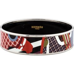 Pre-owned Hermes Wide Enamel Bracelet ($395) ❤ liked on Polyvore featuring jewelry, bracelets, silver, hinged bangle, bangle bracelet, colorful bangles, crown jewelry and colorful jewelry