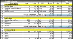 house building cost spreadsheet