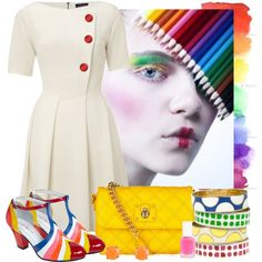 Rainbow shoes!!! How fun. No need for the clown makeup, but I do also like the dress.
