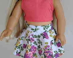 Navy Teal and Coral Floral Skater Skirt and Crop by CircleCSewing
