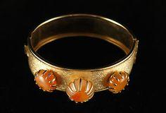 Vintage Agate Gold Tone Hinge Cuff Bracelet