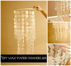 DIY Wax paper chandelier
