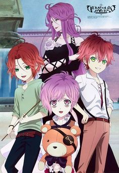 Cordelia and her three sons Laito, Ayato, and Kanato. and the teddy.wow it would b a rlly nice family photo if cordelia wasn't a bitch and the triplets had'nt brutally murdered her. o well the triplets r still hot [laito and ayato] and kawaii [kanato]