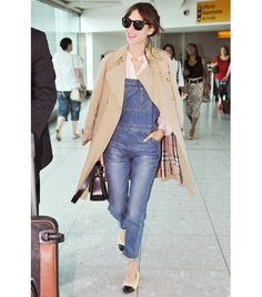 @Alexandra M What Wear - Style Tip: Wear your overalls to the airport with a trench coat, white blouse, and feminine flats.  ​On Chung: Burberry Trench Coat ($1695); Louis Vuitton bag.