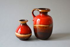 Vintage pottery west German instant vases
