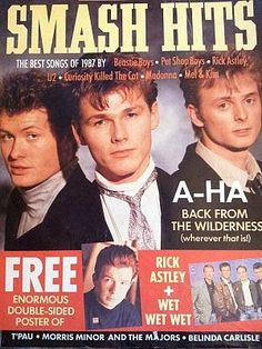 Smash Hits Magazine - 1988 (AHA Cover) I ordered this from the newsagent from 1979 - 1986 when it went shit. It went from a serious music mag to a pop rag. 1980s Childhood, My Childhood Memories, Aha Band, 80s Pop Music, Rick Astley, Curiosity Killed The Cat, Pet Shop Boys, Beastie Boys, Music Magazines