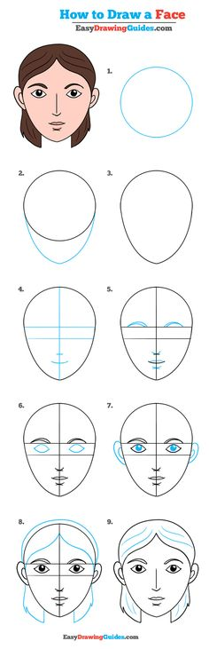 Learn How to Draw a Face: Easy Step-by-Step Drawing Tutorial for Kids and Beginners. #Face #drawing #tutorial. See the full tutorial at https://easydrawingguides.com/how-to-draw-a-face-really-easy-drawing-tutorial/.