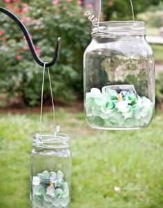beachy mason jar lanterns
