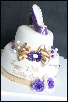 Purple shoe cake with golden bow