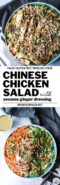 Paleo Chinese Chicken Salad with Sesame Ginger Dressing - A huge, crunchy salad that makes a perfect Whole30 lunch idea or weeknight dinner. It's a Whole30 recipe, paleo, low carb recipe, and 21dsd friendly. With cabbage, carrots, toasted almonds, and pan-fried chicken breast, it's a great healthy recipe idea! #paleorecipes #whole30 | DoYouEvenPaleo.net
