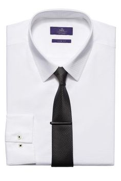 Mens White Textured Shirt, Tie And Tie Clip Set from Next