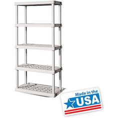 Sterilite 5-Shelf Shelving Unit, Light Platinum - Shelves have holes, this would be great for draining exess water from plants
