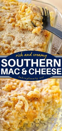 A family-friendly dinner can be on your table in less than an hour! Rich, creamy, and topped with bread crumbs, this Southern Baked Mac and Cheese is the BEST. Nothing beats hearty homemade comfort food! Easy Pasta Recipes, Side Dish Recipes, Healthy Dinner Recipes, Savoury Recipes, Simple Recipes, Yummy Recipes, Easy Weeknight Meals, Quick Easy Meals, Southern Mac And Cheese