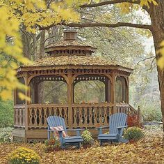 Stained-Wood Gazebo