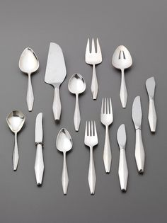 Gio Ponti, flatware Diamond, 1955. Stainless Steel. Manufactured by Reed Barton, USA, distributed by Arthur Krupp, Italy. Via Phillips