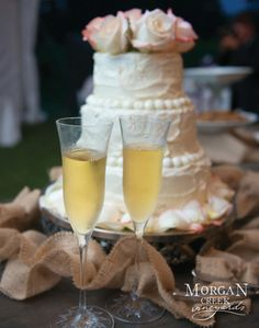 www.morgancreekwinery.com #winery #vineyard #wedding #weddingcake #vineyardwedding #winerywedding #flutes #wine #vino #bride #groom