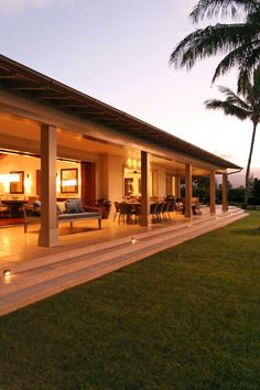A long, open lanai like this is perfect for entertaining and enjoying the view of the ocean.