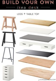 Build Your Own Ikea Desk Build your own modern sleek desk for as low as 26 like this pretty one with trestle legs white table top Home Office Space, Home Office Design, Home Office Decor, Closet Office, Closet Desk, Ikea Closet, Desk Office, Small Office, Office Spaces