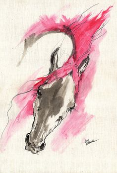 Wild horse acrylic and ink painting on paper by AngelHorses, £50.00