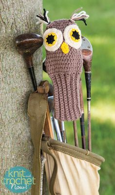 Free Crochet Pattern Download -- This Owl Golf Club Cover, designed by Susan Wilkes-Baker, is featured in episode 411 of Knit and Crochet Now! TV. Learn more here: www.knitandcrochetnow.com