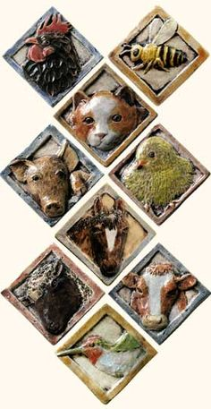 barnyard animal tiles by Margaret Licha Designs