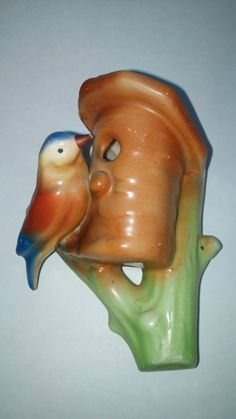 Vintage Czech Ceramic Bird art his Birdhouse Wall Pocket~Planter~Vase 2