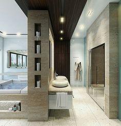 Contemporary Master Bathroom -Timber