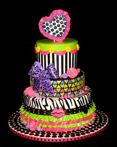 Sassy by its-a-piece-of-cake, via Pretty Cakes, Beautiful Cakes, Amazing Cakes, Crazy Cakes, Fancy Cakes, Teenage Girl Cake, Birthday Cake Girls, Birthday Cakes, 12th Birthday