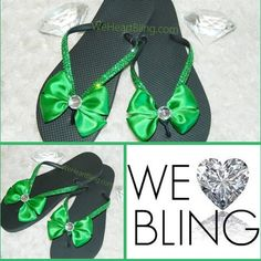St Patty's Day Sandals! www.WeHeartBling.com Rhinestone Sandals, 3 Shop, St Pattys, Flip Flops, Bling, Shopping, Shoes, Women, Fashion