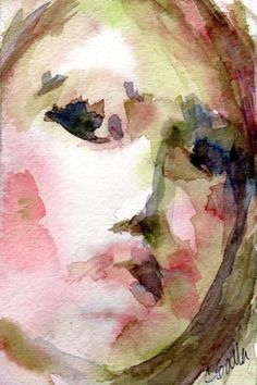 Pink and Olive Green Womans Face Watercolor  by CGallaFineArt, $45.00